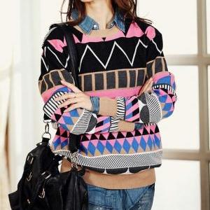 Pink Loose Geometric Patterns Swea..