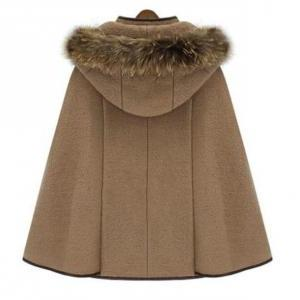 KHAKI CAPE Stand Collar Double Brea..