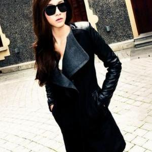 Navy Blue Long Coat Jacket PU Leath..