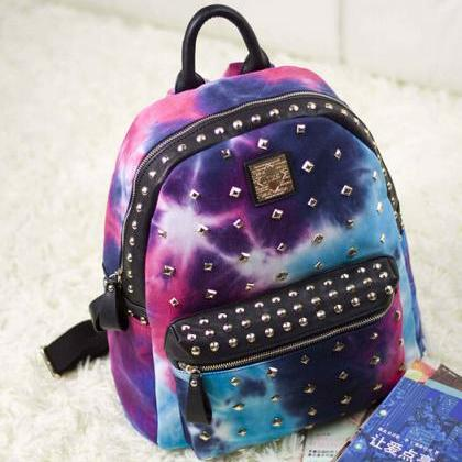 Tie-Dye Backpack Featuring Golden M..