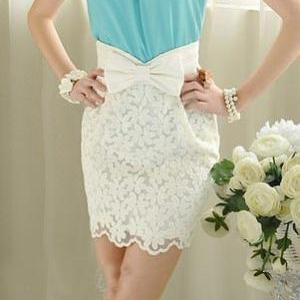 White Short Skirt With Bow
