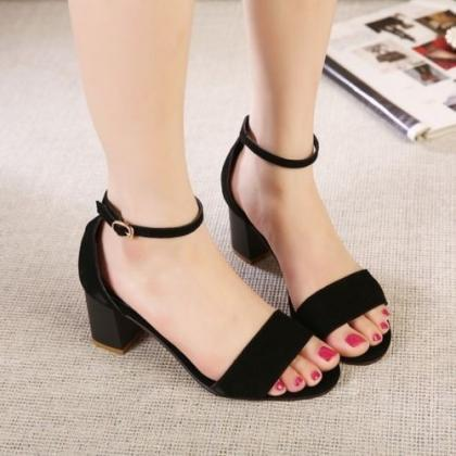 Women Black Ankle Buckle Strap Open..