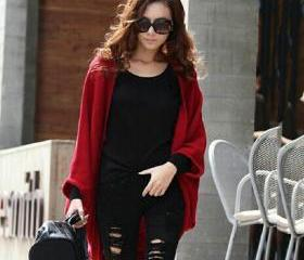 Loose Bat Wing Batwing Sleeve Wool Weave Cardigan Sweater