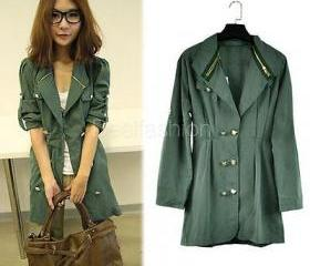 Sale Women's Long Sleeve Slim Fit Double Breasted Trench Coat Agood