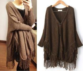 Plus Size Coffee Knit Sweater Batwing Cardigan Winter Top Wc021-1
