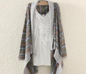 Woman'S Stripes Pattern Longline Cardigan With Asymmetrical Hems