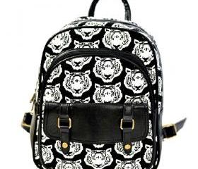 Black Tiger Head Print Backpack Shoulder School Bag