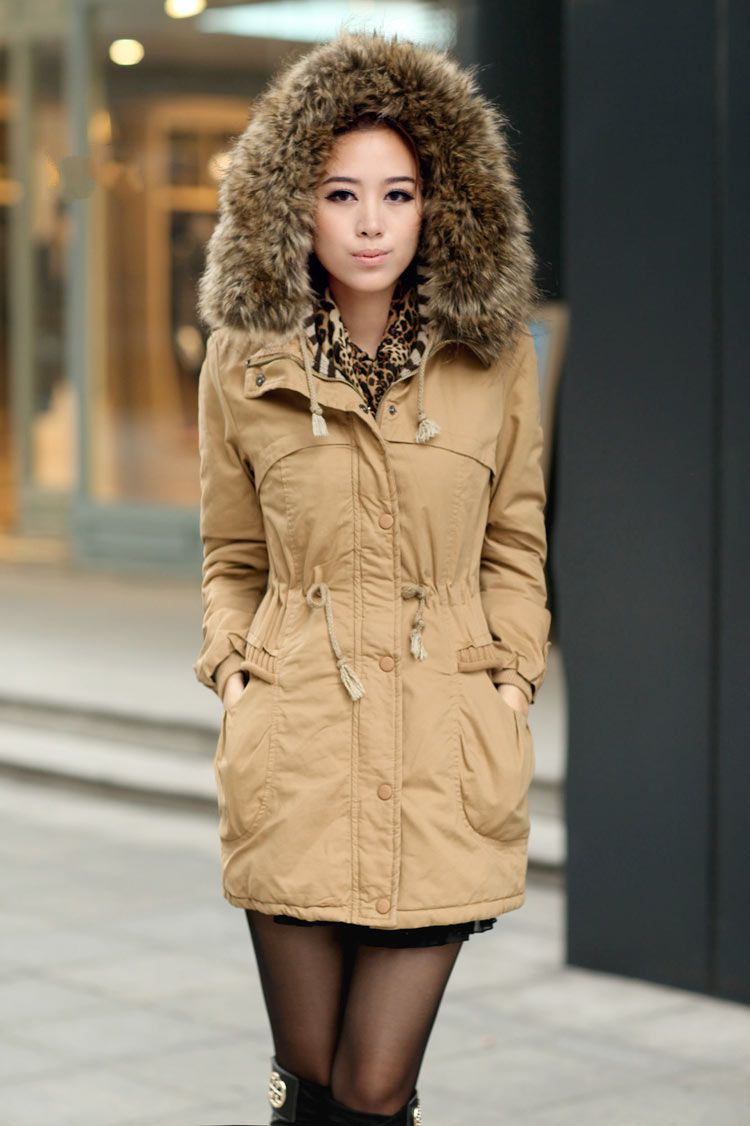 Ochre Womens Winter Coats Faux Fur Lining Parka With Fur Hood on ...