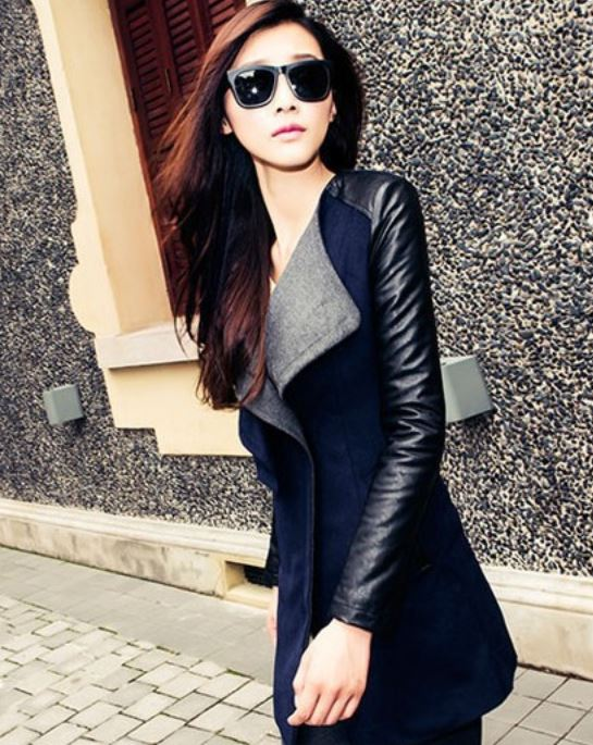 Navy Blue Long Coat Jacket PU Leather Sleeve Fashion Wool Coat For Women