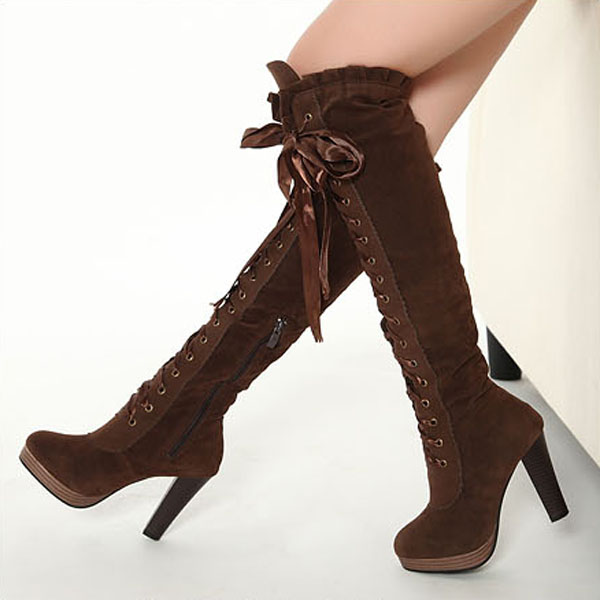 Ladies Boots Sexy Boots Cross Straps Knee High Boots Thigh High ...