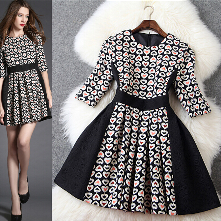 Fashion Jacquard Stitching Slim Sleeve Dress XE0104CA