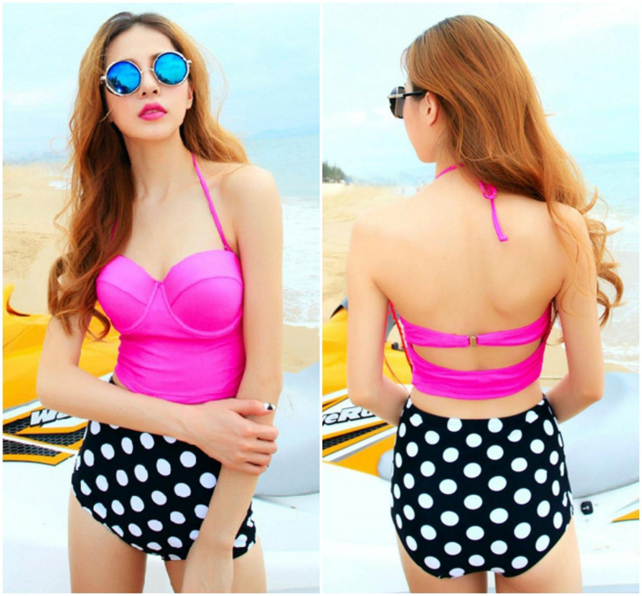 Cute Two Pieces Polka Dots Design Bikini Set In Rose Red