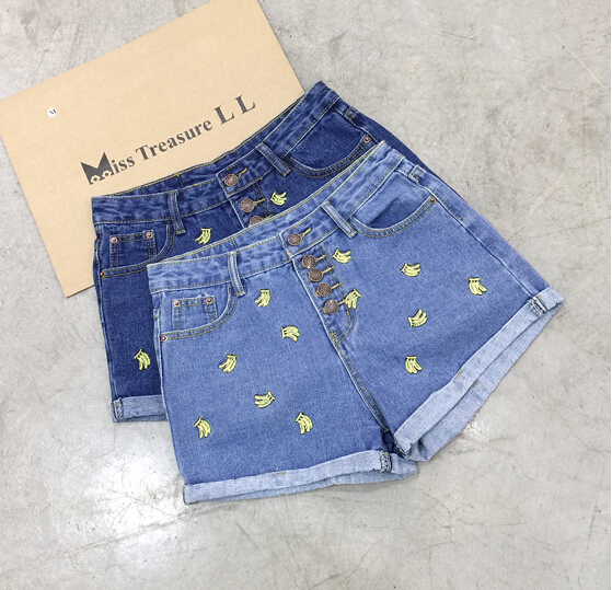 Free shipping 2016 cute Banana denim short for women
