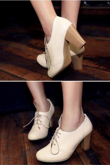 Women's Punk Pointed Toe Lace Up Platform Block High Heels Ankle Boots Shoes Beige