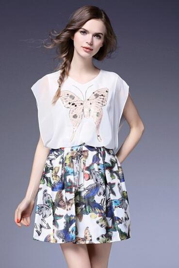 Stitching sequins Butterfly Print Sleeveless Dress