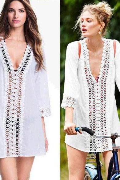 White Crochet Lace Plunge V Long Sleeved Short Shift Dress