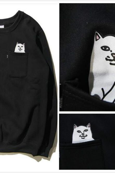 Free shipping Finger cat hoodie sweater #413