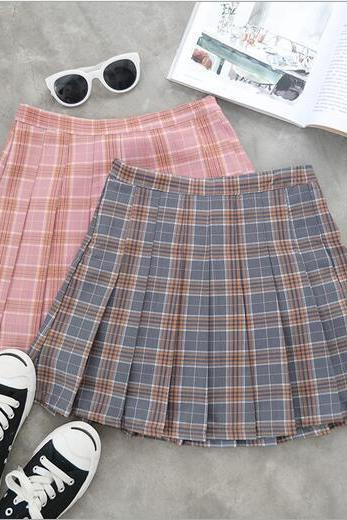 Free shipping Grey pink navy blue Gradient Pleated Skirt #266