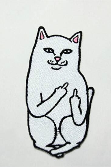 Free shipping one-finger salute cat brooch #386