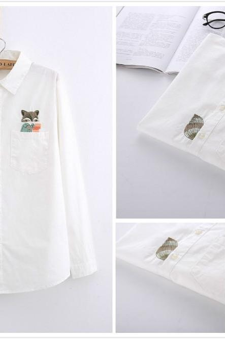 Free shipping cute squirrel embroidery blouse shirt #YYL-50