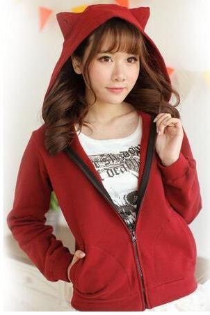 Free shipping Harajuku Sweet Casual Cat Ear Hooded Sweatshirt #306