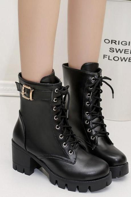 Faux Leather Lace-Up Over-The-Ankle Fit Combat Boots