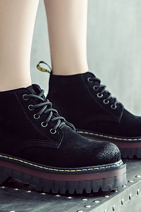 Round Toe Lace-up Flat Platform Ankle Boots