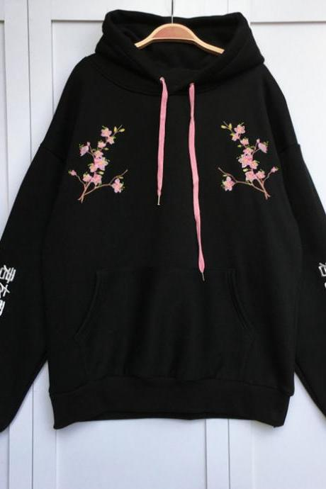 Cherry Blossom Embroidered Hoodie