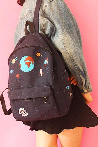 Space Theme Canvas Backpack