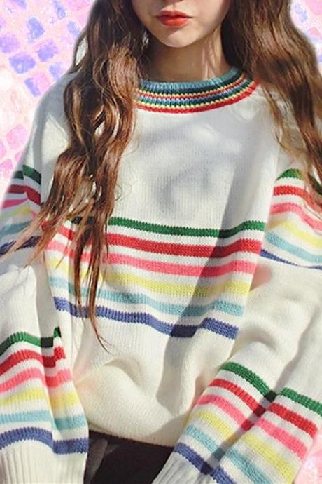 Black/ White Retro color stripe sweater top