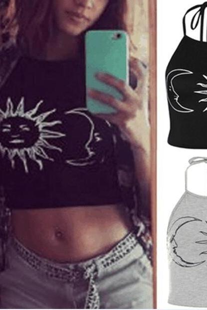 Women's Fashion Vest Sleeveless Sun Moon Print Halter Neck Tied Crop Vest Top T-Shirt Cotton Blouses