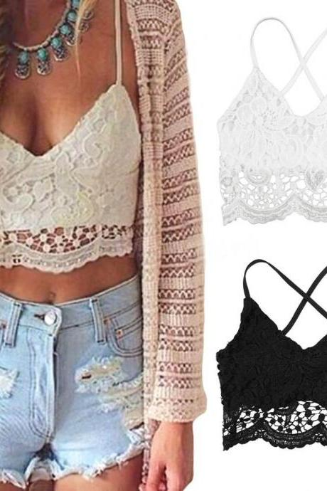 New Sexy Women Crop Top Crochet Lace Deep V Neck Spaghetti Strap Backless Tank Camisole Bralette Black/White