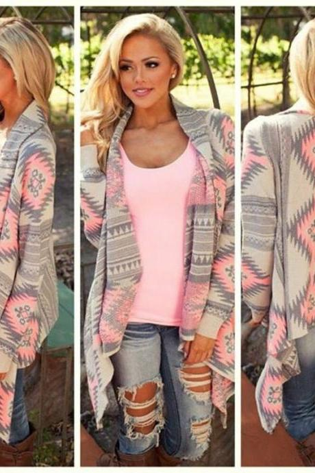 Women's Autumn Winter Knitted Cardigan Coat Loose Size Irregular Floral Print