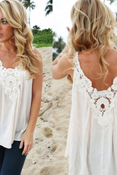 Women V Back Floral Cutwork Vest Top Sleeveless Blouse Casual Tank Tops T-Shirt