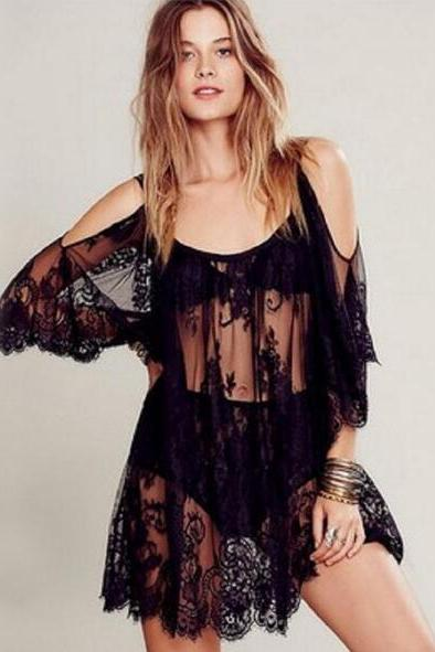 Women Beach Dress Sexy Strap Sheer Floral Lace Embroidered Crochet Summer Dresses Hippie Dress