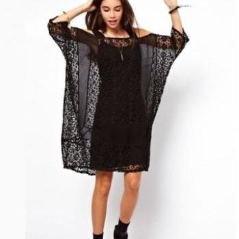 Black Off the Shoulder Lace Loose Chiffon Dress