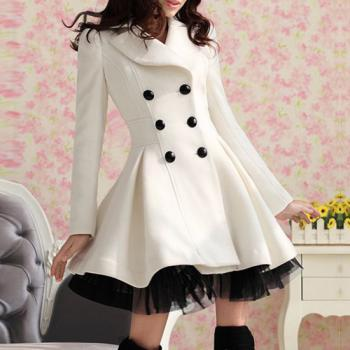 Lapel Double-breasted Beam Waist Ruffles Women's Coat