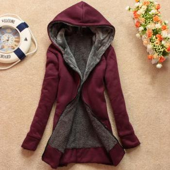Plus Velvet Long-sleeved Hooded Sweater Coat Loose