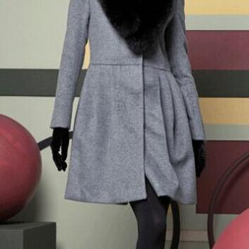 Gray/Black Wool Coat Wool Jacket Women Jacket Winter Jacket Winter Coat Women Coat Spring Autumn