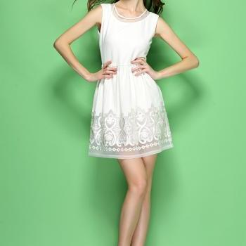 High Quality Designer Embroidered Organza Dress For Women - White
