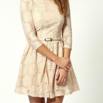 New Fashion Elegant Lace Dress With Belt - Beige