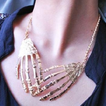 Hot! Punk Skull Gripper Necklace Sweater Chain Pendant Collar Jewelry