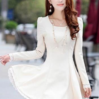 Lady A Line Long Sleeve Little Dress - White