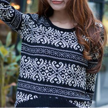 Loose Fitting Snowflake Knit Sweater - Blue