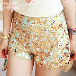 Beaded Flower Sequined Chiffon Shorts