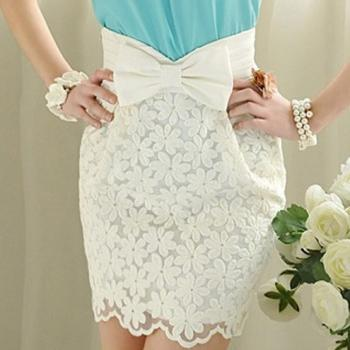 Embroidered Bow Skirt