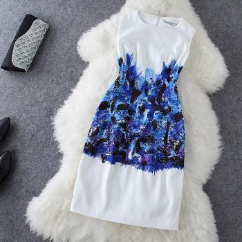 Fashion Blue Print Dress