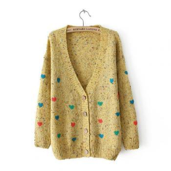 Cardigan Sweater With Embroidered Hearts In Yellow