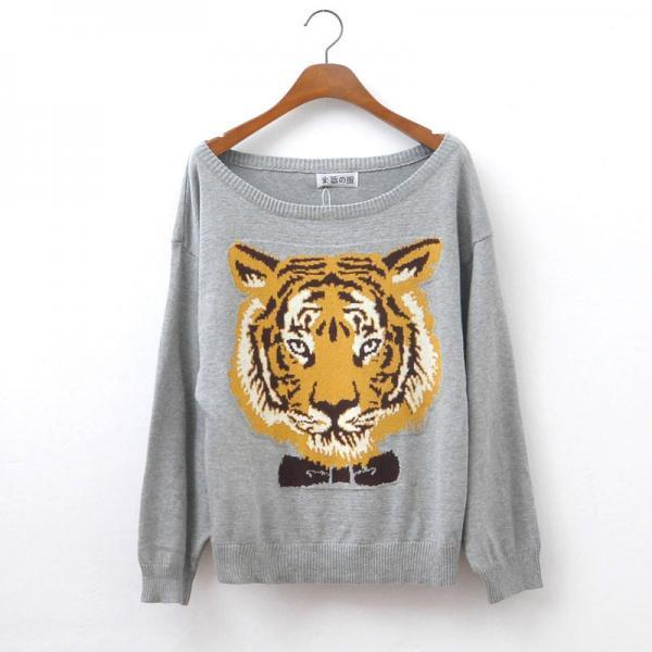 Nice Gray Tiger Head Sleeve Sweater&Cardigan