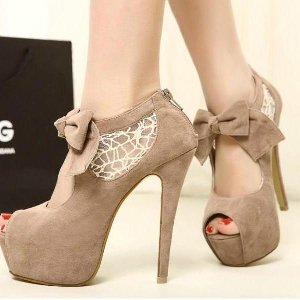 Stitching Lace Bow Heels